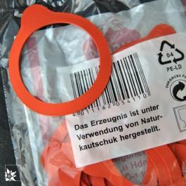 Die Weck-Gummiringe wurden unter der Verwendung von Naturkautschuk hergestellt.