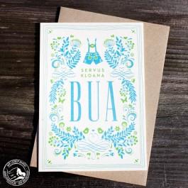 """Bayrische Glückwunschkarte zur Geburt  """"Bua"""" aus Bierfilz"""