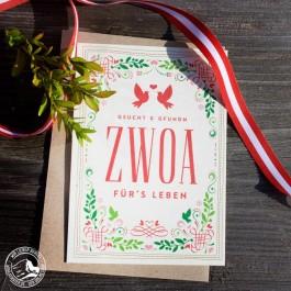 Bayrische Glückwunschkarte Hochzeit - Zwoa für's Leben