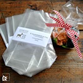 10 Kreuzbodenbeutel aus Folie. Transparent. Geeignet zum Verpacken von Süßigkeiten, Keksen usw.. (Lieferung ohne Dekoration)