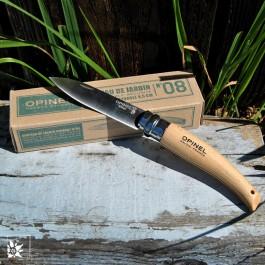 Das Opinel-Gartenmesser Nr. 8 mit rostfreier Klinge aus Stahl und Spitze.