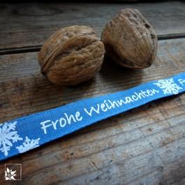 Geschenkband Frohe Weihnachten Blau Weiß - 5 Meter (Lieferung OHNE Dekoration)