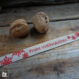 Geschenkband Frohe Weihnachten - Natur mit rotem Aufdruck (Lieferung OHNE Dekoration)
