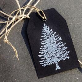 6 Stück Geschenkanhänger Tanne Schwarz Weiß