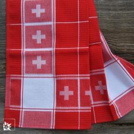 Schweizer Baumwoll Geschirrhandtuch in Rot/Weiß mit Schweizer Kreuz in der Bordüre.