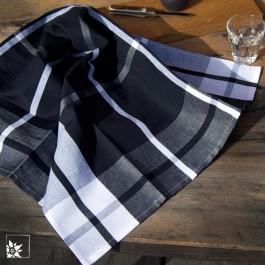 Geschirrtuch Karo groß in Schwarz-Weiß.