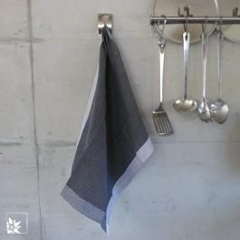 Das Küchentuch in der Farbe scharz/weiß als Geschirr- Gläser- oder Picknicktuch verwendbar.