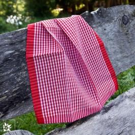 Küchen- und Geschirrtuch Vichy-Karo Rot Weiß aus Halbleinen.