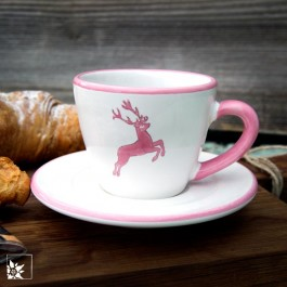 Gmundner Keramik Espressotasse mit Rosa Hirsch