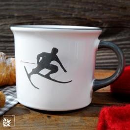 Gmundner Kaffee-Haferl 0,24 l – Skifahrer Toni – Grau