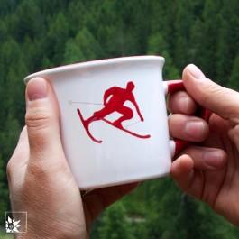 Gmundner Keramik - Kaffee-Haferl Skifahrer Toni Rot - Österreich-Edition
