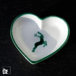 Gmundner Keramik Herz mit grünem Hirsch.