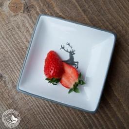 Gmundner Keramik - Snackschale Grauer Hirsch - Quadrat 11x11cm (Lieferung OHNE Dekoration)