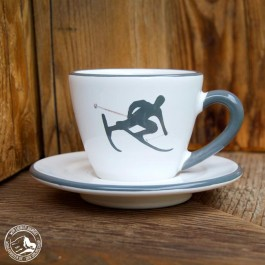 Gmundner Keramik Espressotasse Skifahrer Toni Grau