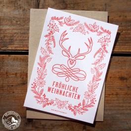Bayrische Weihnachtskarte Fröhliche Weihnachten - Hochwertige Letterpresskarte mit naturfarbenem Briefumschlag.