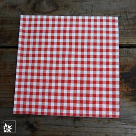 Papierserviette Karo - rot / weiß - 33 x 33 cm groß.