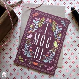 Bayrische Grusskarte aus Bierfilz - I Mog Di - Fei Scho
