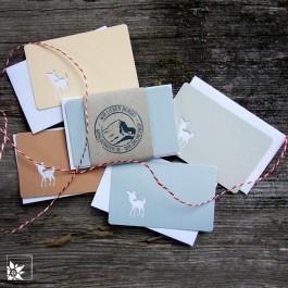Mini Grusskartenset Bambi - Farbe Grau. (Lieferung ohne Dekoration)