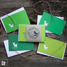 Mini Grusskartenset Bambi - Farbe Grün. (Lieferung ohne Dekoration)