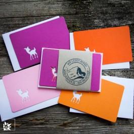 Mini Grusskartenset Bambi - Farbe Pink Orange. (Lieferung ohne Dekoration)