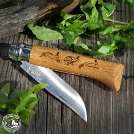 Opinel No. 8 - Taschenmesser Hase mit Buchenholzgriff und rostfreier Klinge (Lieferung OHNE Dekoration)