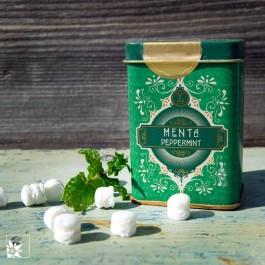 Retro Metallbox Menta von Pastiglie Leone. Glutenfreie Lutschpastillen.