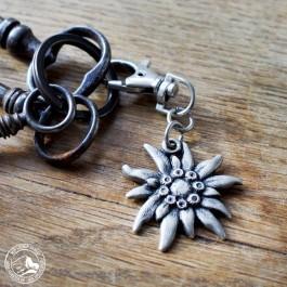 Schlüsselanhänger Edelweiß, nickelfrei, versilbert. (Lieferung ohne Dekoration)