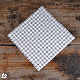 Papierservietten in Karo grau-weiß. Größe 33 x 33 cm.