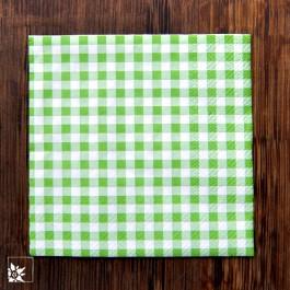 Kleine Serviette, kariert, grün-weiß, 25 x 25 cm.