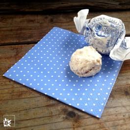 Die hellblauen Pünktchen-Servietten eignen sich gut zum Kaffee. Größe: 25 x 25 cm. (Ohne Dekoration!)