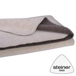 Steiner 1888 - zweifarbige Wolldecke Heidi - Schneeweiß - Murmel