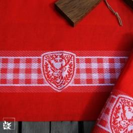 Der Tischläufer Hirsch Karo in Rot Weiss.