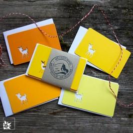Mini Grusskartenset Bambi - Farbe Gelb. (Lieferung ohne Dekoration)