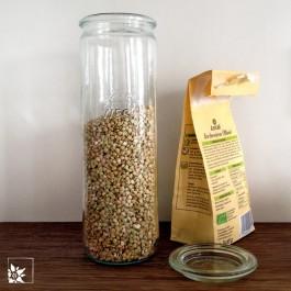 Das Weckglas in der Zylinderform 1/2 l wird mit Glasdeckel geliefert (ohne Gummiring, Metallklammern und Inhalt).