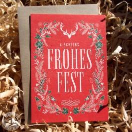 Bayrische Weihnachtskarte Frohes Fest - von Heimatformat aus Bayern - Karte mit Umschlag (Lieferung OHNE Dekoration)