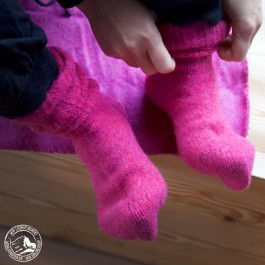 Steiner Socken aus Bergschafwolle Pink - 100% Bergschafwolle