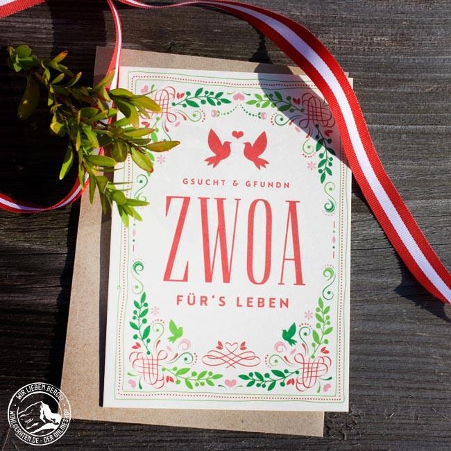 Heimatformat Glückwunschkarte Hochzeit Zwoa | Bierfilz