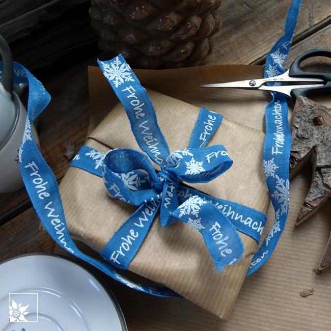 geschenkband frohe weihnachten blau alpen shop wohlgeraten. Black Bedroom Furniture Sets. Home Design Ideas