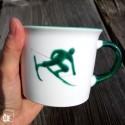 Gmundner Keramik Tasse/Haferl Skifahrer Toni Grün