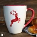 Gmundner Keramik Kaffeebecher Hirsch Bordeaux