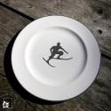 Gmundner Keramik Frühstücksteller Skifahrer Toni Grau