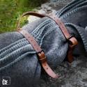 Ledergurt für Picknickdecke - antik - handgenäht