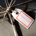 6 Geschenkanhänger (6x3cm) Archivstempel Rot