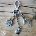 Schlüsselanhänger Hase Edelweiss nickelfrei versilbert
