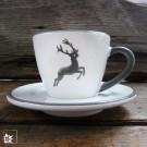 """Espressotasse """"Grauer Hirsch"""" von Gmundner Keramik."""