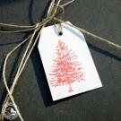 6 Geschenkanhänger Tanne - Weiß Rot