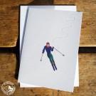 """Gmund Klappkarte """"Skifahrer"""" mit Illustration, Prägung und Umschlag aus Gmund-Papier"""