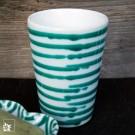 Gmundner Keramik Becher grün geflammt.