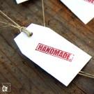 """Hangtags """"Handmade"""". Gestempelt. Rot-Weiß"""