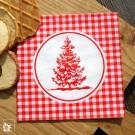 Weihnachtliche Papierserviette im Hüttenstil - Vichy-Karo mit Tanne.